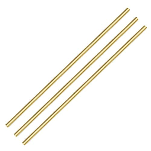 PGCOKO Brass Solid Round Rod Lathe Bar Stock, 3/16 inch in Diameter 14 inch in Length (3 PCS)