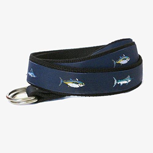 Classic D-ring Belt (Canvas Belt / Navy Fish D-Ring Belt / Khaki Ribbon Belt for Men Teens Big and Tall Men - Tuna Fish in navy sizes xs to Big and)
