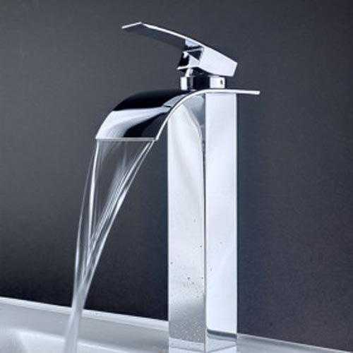 Aquafaucet Waterfall Single Handle Basin Vanity Sink Vessel Bathroom Faucet Tall Mixer TapChrome Finished
