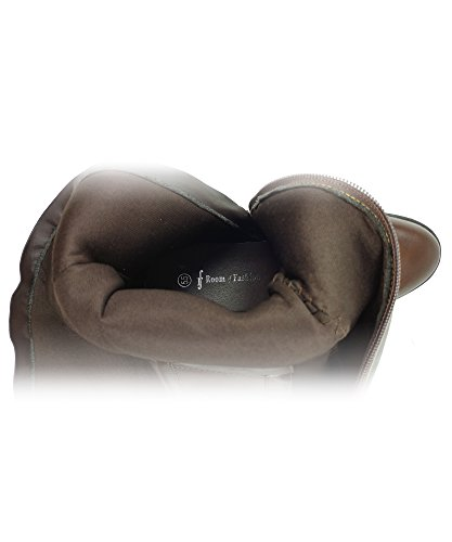 RF ROOM OF FASHION Damen Kunstleder Schnalle Akzent Kniehohe Reitstiefel mit versteckter Tasche - erhältlich in mittlerer und breiter Wade Brauner Pu mit Tasche.