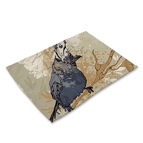 - Placemats set of 1 Heat Insulation Placemat for Dining Table Durable Kitchen Table Placemats - Blue Bird