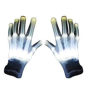 Fengh una par de baile Carnaval concierto fiesta de iluminación Glow LED intermitente algodón dedo mano guantes–blanco