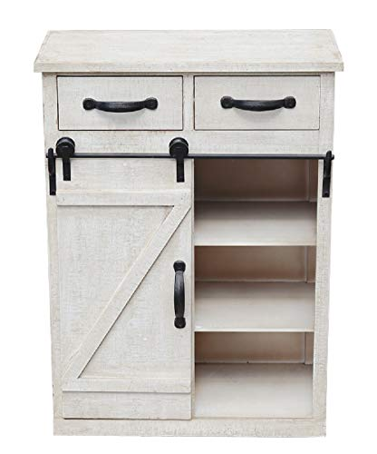 """Farmhouse Wood Cabinet with 1 Sliding Barn Door,2 Drawers,3 Shelves ,Large Storage Space, Distressed Wood Console Table, Vintage Furniture,32"""" H, White"""