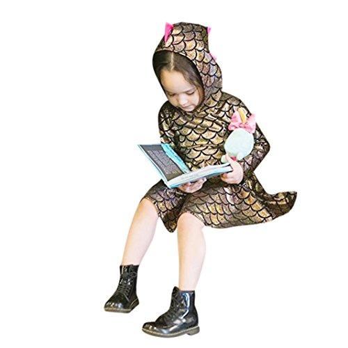 Remiel Store Toddler Kids Girls Sequins Dinosaur Hooded Party Dresses (3T)