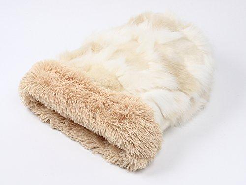 Cuddle Cup Dog Bed - Cream Fox w/Camel Shag by Susan Lanci