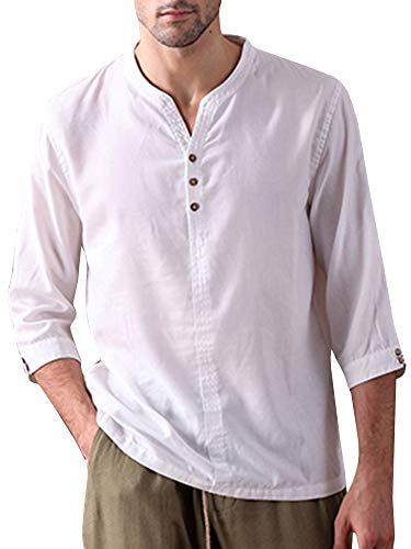 Mens Linen Henley Shirt Casual 3/4 Sleeve T Shirt Pullover Tees V Neck Curved Hem Cotton Shirts Beach Tops (X-Large, - Hem Cotton Short Sleeve