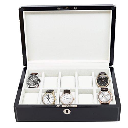 10 Piece High Gloss Piano Black Men's Watch Box Display Case Collection Jewelry Box (10 Piece Watch Box)