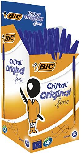 BIC Cristal Original Fine Ballpoint Pens Blue 50 Box