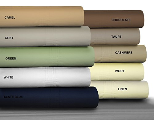 Sheet 500 Count Set - Queen Size Camel Brown Color Bed-Sheet Set With PillowCases 500TC 100% Combed Cotton Sateen 4 Piece