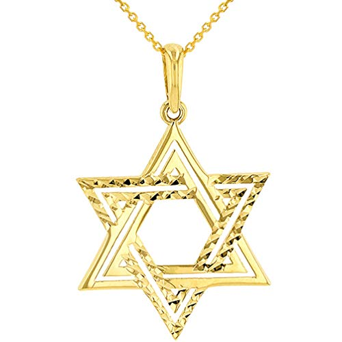 (Solid 14k Yellow Gold Textured Elegant Jewish Star of David Charm Pendant Necklace, 18