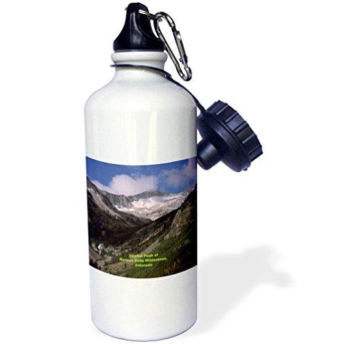 """3dRose wb_26259_1 """"Capital Peak in Maroon Bells Wilderness"""" Sports Water Bottle, 21 oz, White"""