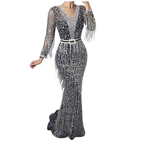 GOUWAN Feestjurk voor dames, cocktailjurk, feestelijk, glitterjurk, getailleerde jurk, lange mouwen, business, elegante…