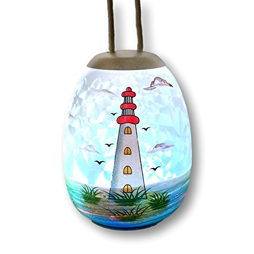 Light House Ornament - Lighted Globe with Hand Painted Lighthouse Design - LED Slow Color Changing (Hand Painted Lighthouse)