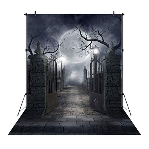 Dead Famous Halloween Party (Aperturee Halloween Backdrop for Photography 5x7FT Gothic Cemetery Gate Photo Booth Backdrop Halloween Party Decorations Dead Trees Background Holiday Events)