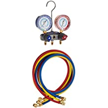 Yellow Jacket 49887 Titan 2-Valve Test and Charging Manifold degrees F, psi Scale, R-22/134A/404A Refrigerant, Red/Blue Gauges