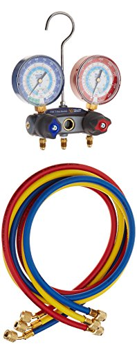 Yellow Jacket 49887 Titan 2-Valve Test and Charging Manifold Degrees F, psi Scale, R-22/134A/404A Refrigerant, Red/Blue Gauges (Refrigerant 404a)