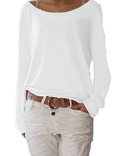Cardigan Con Larga Weiß Cuello Camiseta Pullover shirt Jerséis Ziooer Redondo Cárdigan Casual Manga Mujeres Jersey Sudadera Suéter T Suelto Tee wWqS1OzA