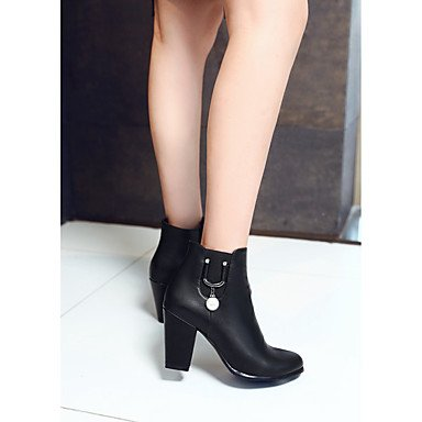 Women's Shoes PU Leatherette Fall Winter Comfort Novelty Bootie Boots Chunky Heel Round Toe Booties/Ankle Boots Zipper For Party & Brown bHZ8zw5