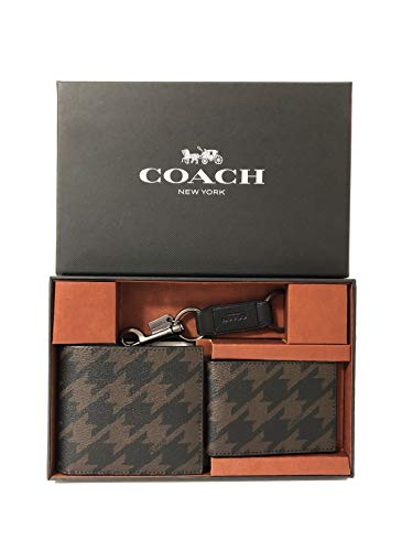 Coach Men's Compact ID Wallet & Key Fob Gift Boxed Set (QB/Grey Multi)