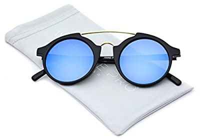 WearMe Pro - Metal Top Bar Super Vintage Hipster Mirrored Lens Sunglasses