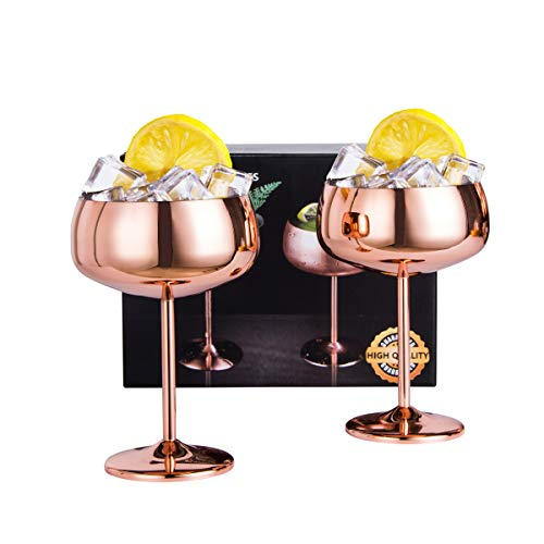 JOEVER Copper Coupe Champagne Glasses Set of 2 Stainless Steel Vintage Martini Cocktail Glass Wine Goblet