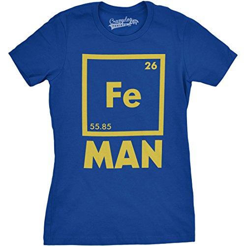 Crazy Dog TShirts - Womens Iron Man Science T shirt Cool Shirts Novelty Ladies Funny T shirt Graphic Design (Blue) XL - damen - XL
