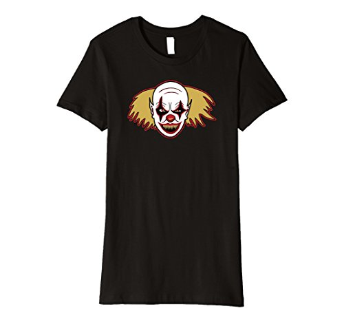 [Womens Clown Drawing T-Shirt For Spooky Halloween Costume Party Top XL Black] (Spooky Clown Costumes)