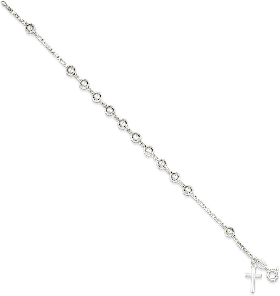 """Sterling Silver 925 ROSARY BRACELET CROSS CHARM PENDANT 4MM-Length 7.25/"""" /& 7.50/"""""""