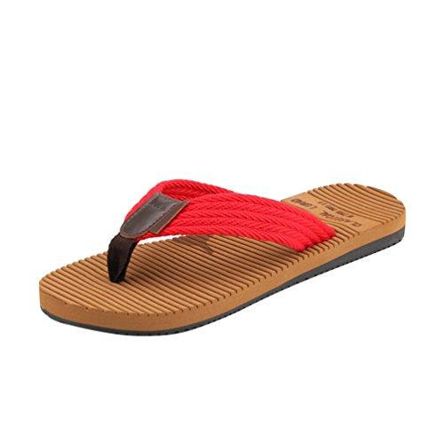 Baymate Men'S Casual Beach Flat Flip Flops Comfort Antiskid Sandals Red 7jCfw