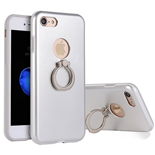 iPhone 6S Plus Case with Finger Ring Holder,360 Degree Rotating Kickstand Function,iPhone 6 Plus Case Metal Matte Silver,Gostyle Slim Fit Hard Shockproof Metallic Case with Magnetic Car Mount. (Clip Metallic Silver Universal)