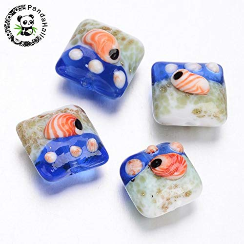 Calvas Ocean Style Square Handmade Lampwork Beads, RoyalBlue, 15~16x15~16x11~13mm, Hole: 2mm; About - Handmade Beads 15 Lampwork