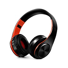 Bluetooth Headphones Over Ear, TF surport Wireless Headset, Foldable, Soft Memory-Protein Earmuffs, w/ Built-in Mic and Wired Mode for PC/ Cell Phones/ TV (Orange-Black)