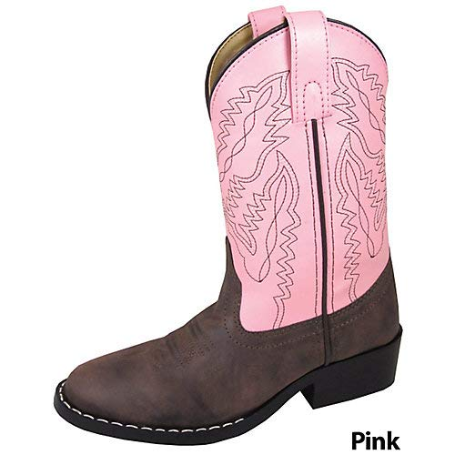 Smoky Mountain Toddler Girls Monterey Boots Brown/Pink, 8M (Cowgirl Boots Size 8)