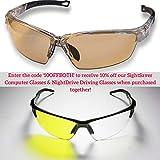 Patented Curved Blue Blocker Glasses - Premium Anti Glare Computer Glasses Reduce Migraines, Dry Eyes - Stops Harmful Unfiltered Light - Lightweight Blue Light Blocking Safety Glasses for Men Kids