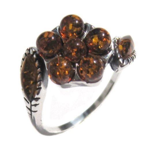 Honey Amber Sterling Silver Flower Ring