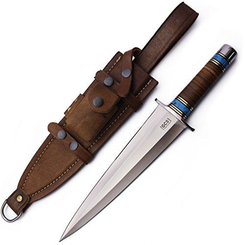 GCS Custom Handmade Stacked Leather Handle D2 Tool Steel Dagger Knife Buffalo Hide Sheath 184