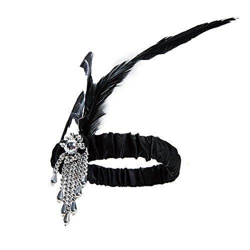 1920s Accessories Set Flapper Headband,Earrings,Pearl Necklace,Gloves,Net Tights,Pearl Bracelet (Set-13) by ZeroShop (Image #2)'