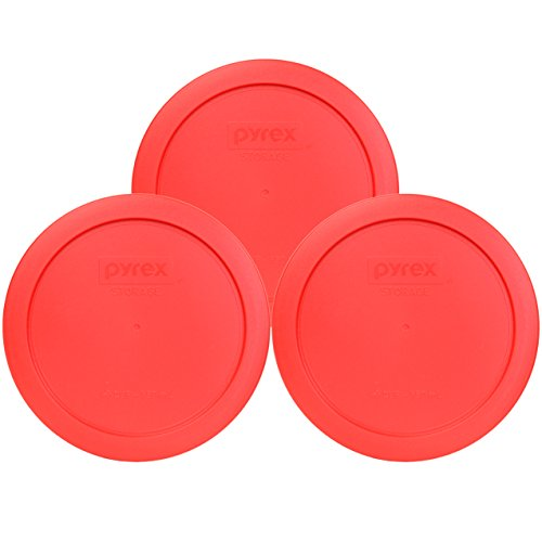 (Pyrex 7201-PC Round 4 Cup Storage Lid for Glass Bowls (3, Red))