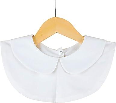 BASSK Camisa de color liso para mujer, camisa de algodón, cuello falso, camisa blanca y negra retro desmontable