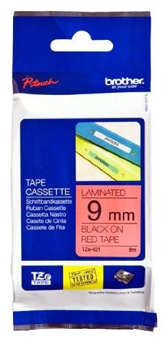Brother Tape, Black on Red, 9mm (TZE-421)