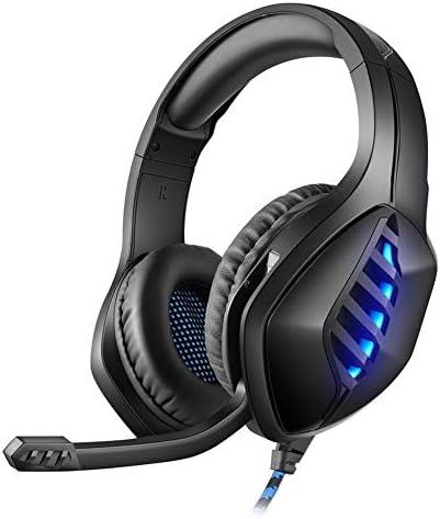 ゲームヘッドセット、ノイズ低減とボリュームコントロールを備えたゲーミングヘッドセット、マイクとLEDライトを備えたゲーミングヘッドセット、Xbox One PS4 PCスマートフォンと互換性あり黒