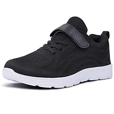 WONZOM FASHION Kid's Casual Lightweight Breathable Running Floral Sneakers Easy Walk Sport Shoes for Boys Girls - Black - 25/8M US Toddler
