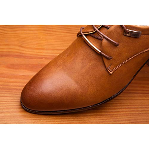 Office Pizzo Business Pelle Casual A Punta Derby Uomo Hibote in in Oxford da a Flat Vintage Verniciata Shoes Fashion Wedding Brown Fashion Abito pHdxPTY