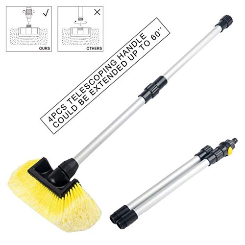 SENGO Vehicle Wash Brush with Soft Bristle And Dismountable Handle, Includes On/Off Water Control For Maximum Cleaning ()