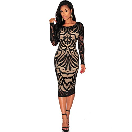 Bolayu Women Evening Cocktail Party Long Sleeve Lace Dress (S, Black)