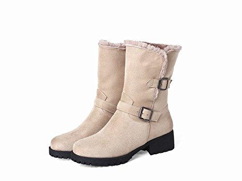 Carolbar Womens Warm Buckle Comfort Casual Low Heel Snow Boots Beige