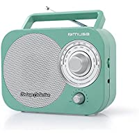 Muse M-Radio 055RG Portable 2Bande FM/MW, Style Vintage, poignée, antenne télescopique Turquoise