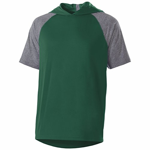Holloway Adult Echo Hoodie Short Sleeve (X-Large, Forest/Graphite Heather) Adult Short Sleeve Heather