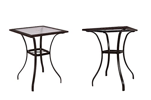 eXXtra Store Garden Square Table Glass Rattan Wicker Patio Bar Yard Furniture Outdoor + eBook by eXXtra Store