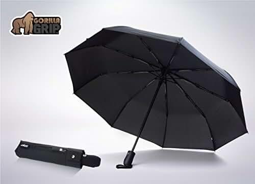 The Original GORILLA GRIP Non-Slip Compact Travel Umbrella, Automatic, Waterproof (Teflon coated), Windproof, Premium Construction, Ergonomic Comfort Grip